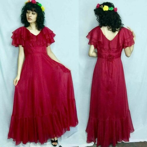 1970s Raspberry Maxi Dress  Size Small to Medium