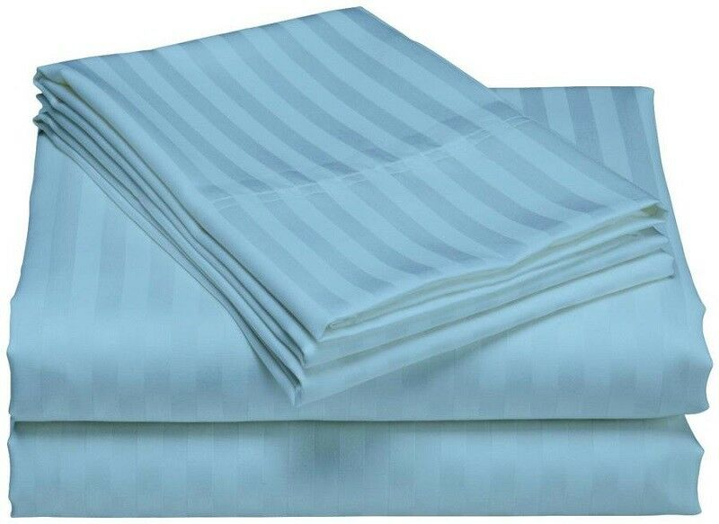 USABedding Item All Size 100% Pima Cotton 1000 TC Stripe Light bluee 15  Drop
