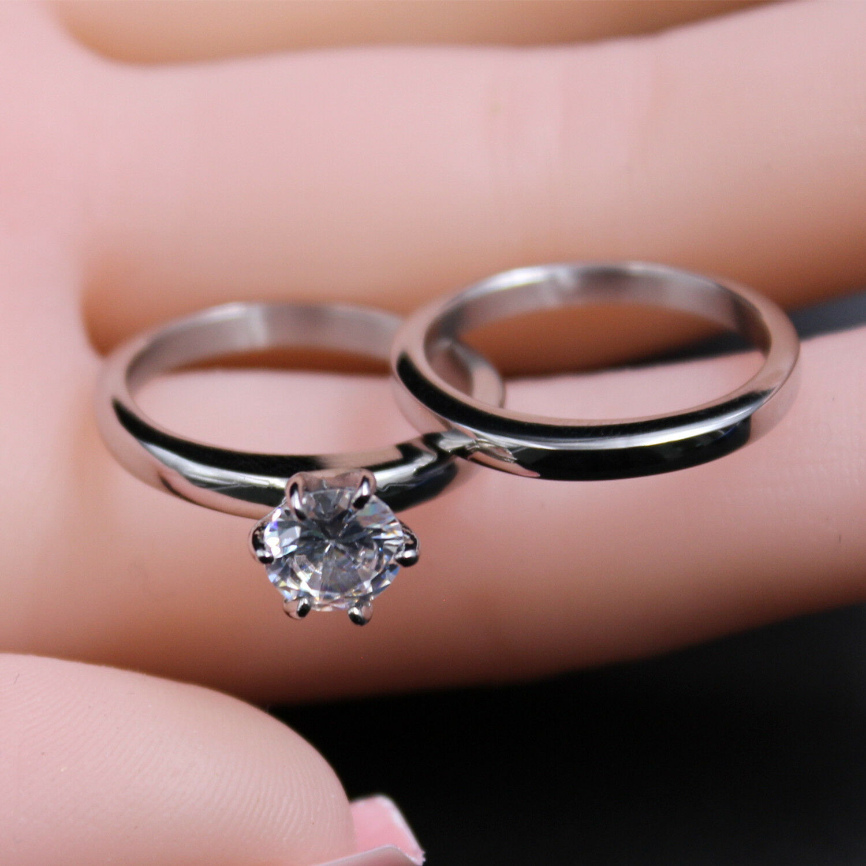Stainless Steel CZ Round Cut Classic Women Wedding Ring Bnad Set ...