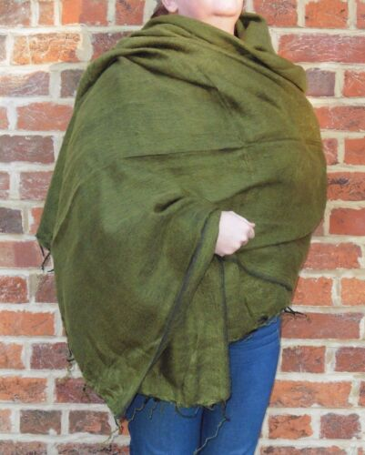Warm Snug Yak Wool Style Nepalese Himalayan Blanket//Large Shawl Forest Green