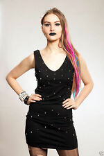 Poizen Industries Spike dress studded goth biker LBD Large UK 14  SALE