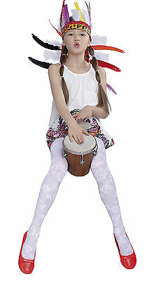 Girls Tights Patterned 30 Denier Soft White Hosiery Age 5-10 Kids Lalia Fiore