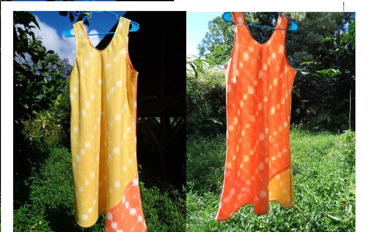 Bust 42-48  OOAK Marimekko Bias Orange Gelb Lightweight Linen flax Dress L44
