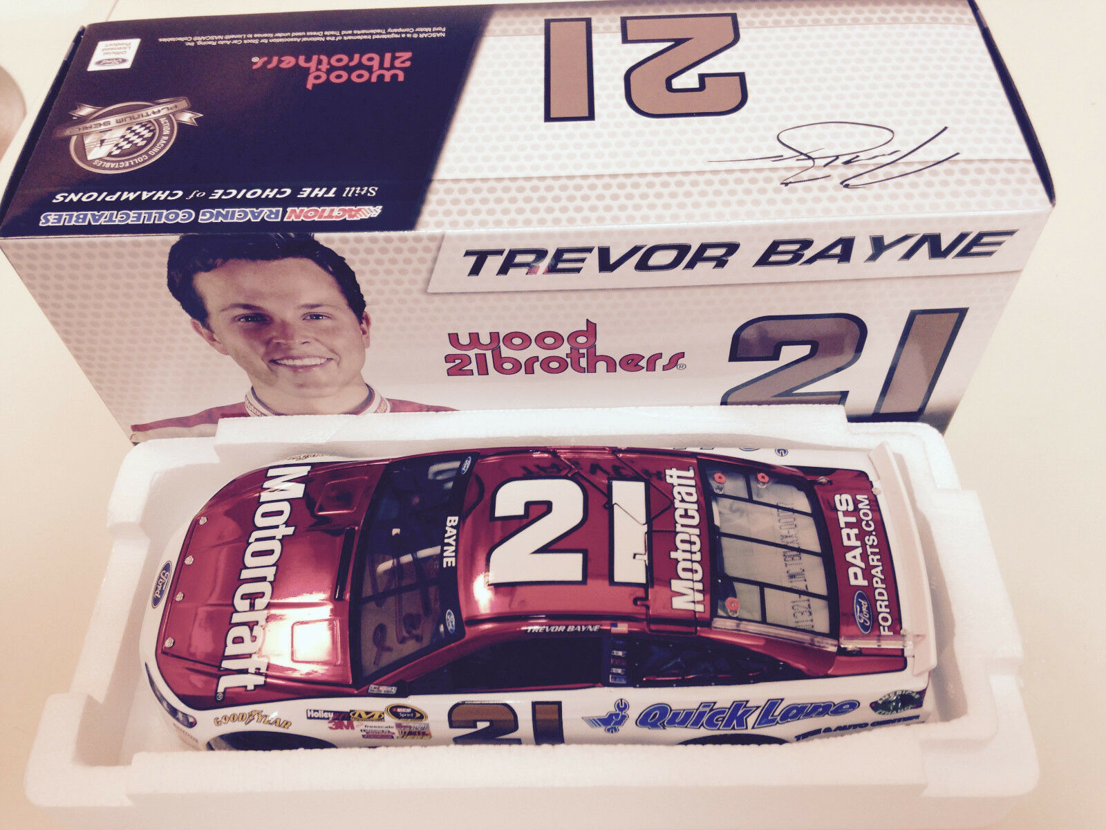 2013 Trevor Bayne Wood Bros Motorcraft color Chrome Autographed Car 1 of 96