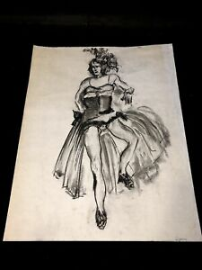 Vintage Original Show Girl Female Figure Study Charcoal Gesture Drawing Signed
