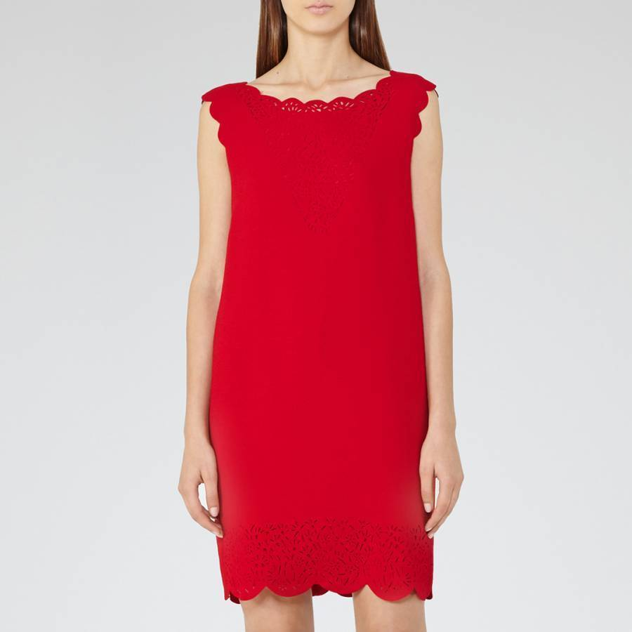 Reiss Modern rot Vita Laser Cut Scallop Shift Party Cocktail Dress UK 10 38