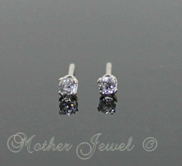 2mm REAL SOLID 925 STERLING SILVER Simulated Diamond Earrings Unisex Studs