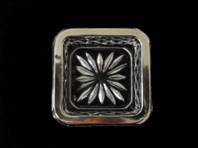 Aschenbecher 925er Silber Sterling, Bleikristall, ca. 7 x 7 cm