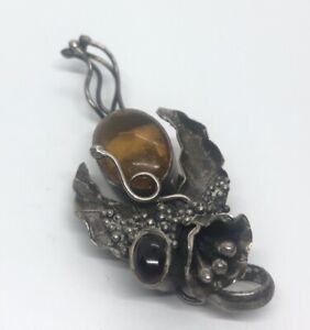 Vintage-Sterling-Silver-Necklace-925-Pendant-Amber-Garnet-Brutalist-Flower