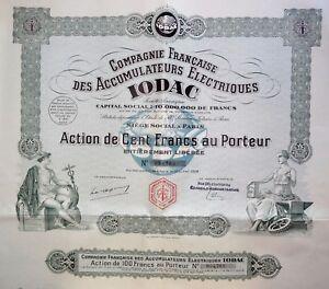 Compagnie Française Des Accumulateurs Électriques Iodac Action 100 Francs 1928 84qxrtyf-07221358-763384429