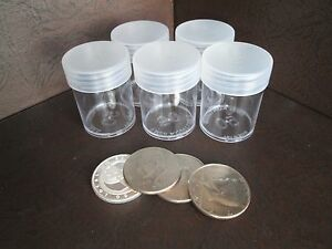 f765b9fd6e72 Details about (5) Round Clear Plastic (Half Dollar) Size Coin Storage Tube  Holders w/Screw Lid