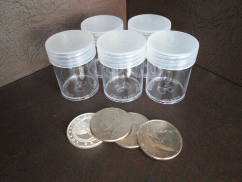 Round Clear Plastic Half Dollar Size Coin Storage Tube Holders w//Screw Lid 5