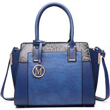 Ladies PU Leather Handbag Designer Crocodile Snake Print  Shoulder Tote Bag Navy