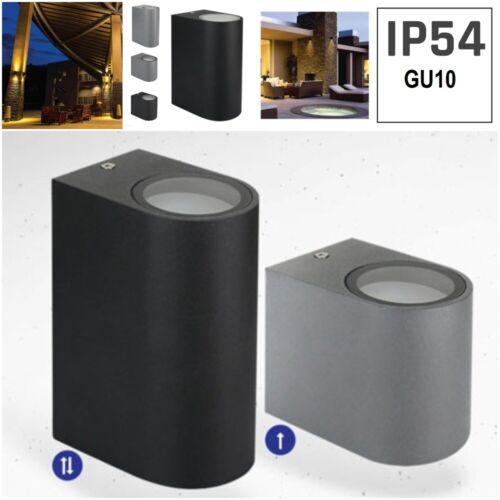 6 Watt Up//Down Single Black Grey IP54 Modern Outdoor Wall LED Light GU10 4