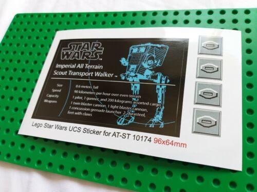 UCS 2006 Ersatz Aufkleber//Sticker für LEGO Star Wars Set 10174 Imperial AT-ST