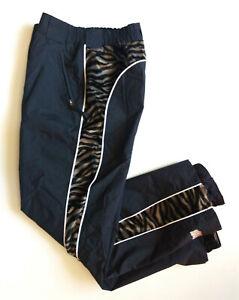 RIDRES-FROM-HLL-Women-Sz-12-Black-Velvet-Zebra-Snow-Ski-Winter-waterproof-Pants