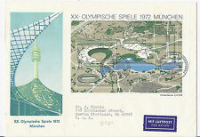 July 5 1972 Germany First Day Cover FDC - B489 Munich Olympic Stadium SS to USA*