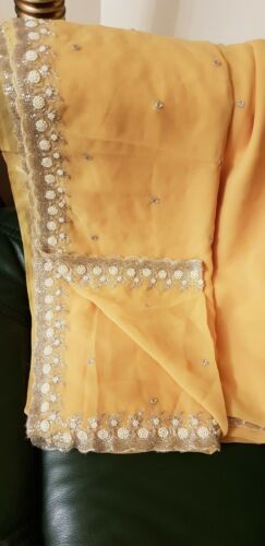 chiffon di di giallo fiori nuovo Sari ricamo bianche perle con 7FRPqw