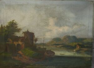 Oil-PAINTINGS-Biedermeier-around-1820-Castle-Shore-Romantic-Landscape-River-Antique