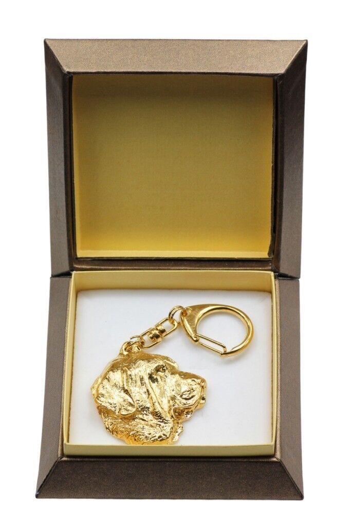 Spanish Mastiff - gold covered keyring with dog, box, high quality, Art Dog