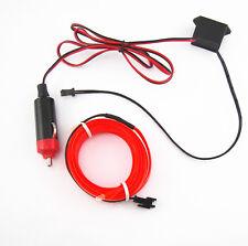 2M 12V Red Neon LED Light Glow EL Wire String Strip Rope Tube Car Interior Decor