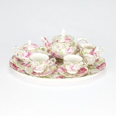 Chintz Style Pink Green Mini miniature Tea set French European Porcelain 10 pc