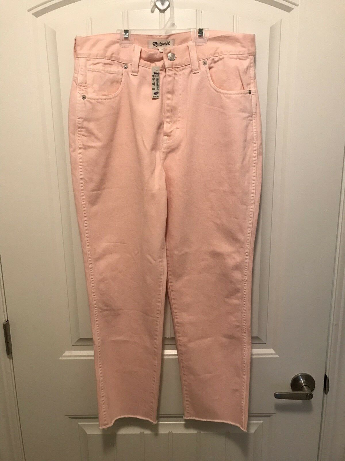 NWT Madewell Garment-Dyed Straight-Leg High-Rise Jeans in Coral Pink size 29