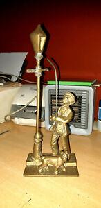 Vintage-Brass-Lamp-Lighter-Man-With-Dog-Figurine-standing-13-034-high