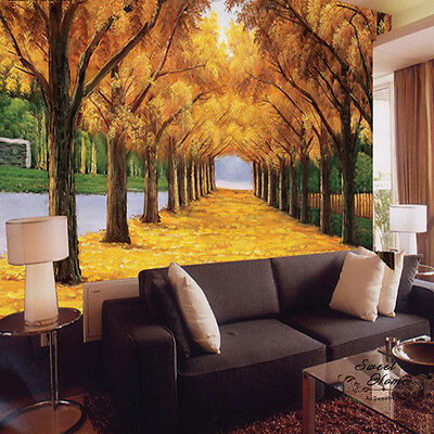 Autumn Landscape Golden Road Large Wall Mural WallPaper Print Decal HOME DIY AU