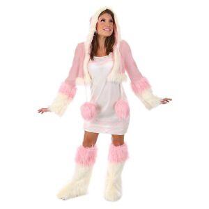 Lady-KOKO-ESKIMO-Costume-Dress-Jacket-Hood-Fur-Leg-Warmer-Adult-Small-4-6-Indian
