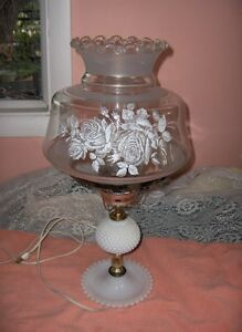 Image Is Loading Vintage Milk White Hobnail Glass White Rose Globe