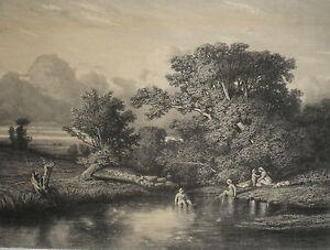 1800 delizioso paesaggio con donne nude al bagno a - Ragazze spiate in bagno ...