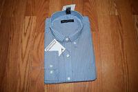Mens Tricots St Raphael Blue Striped Button Front L/s Shirt L Large