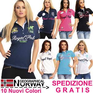 Polo-Donna-a-Maniche-Corte-con-Ricami-Stampe-T-Shirt-Maglia-Geographical-Norway