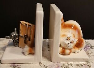 Cat Mouse Bookends Ceramic Hand Painted Fun Ebay
