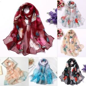 Fashion-Women-Print-Flower-Long-Soft-Wrap-Lady-Shawl-Silk-Scarf-Scarves-Holiday