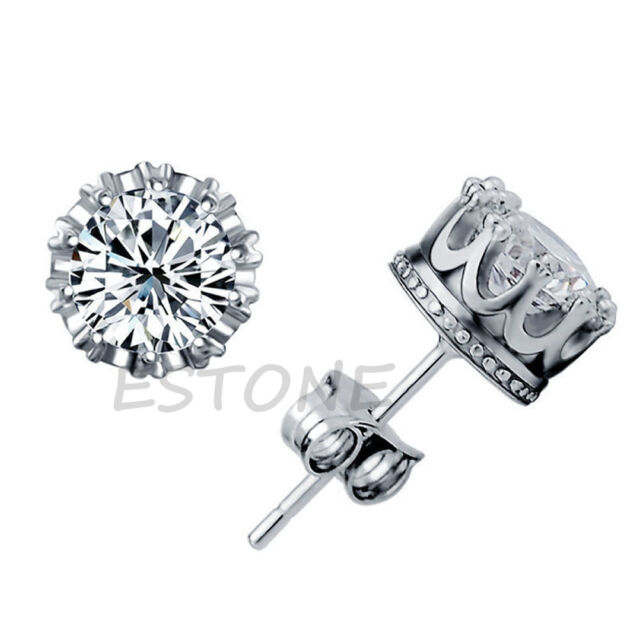 Fashion Women Silver Plated Cubic Crystal Crown Ear Stud Jewelry Zirconia AAA