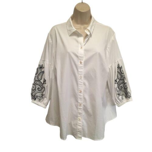 J. Jill Crisp White Top Black Embroidered 3/4 Length Juliet Puff Sleeves 1X (XL)