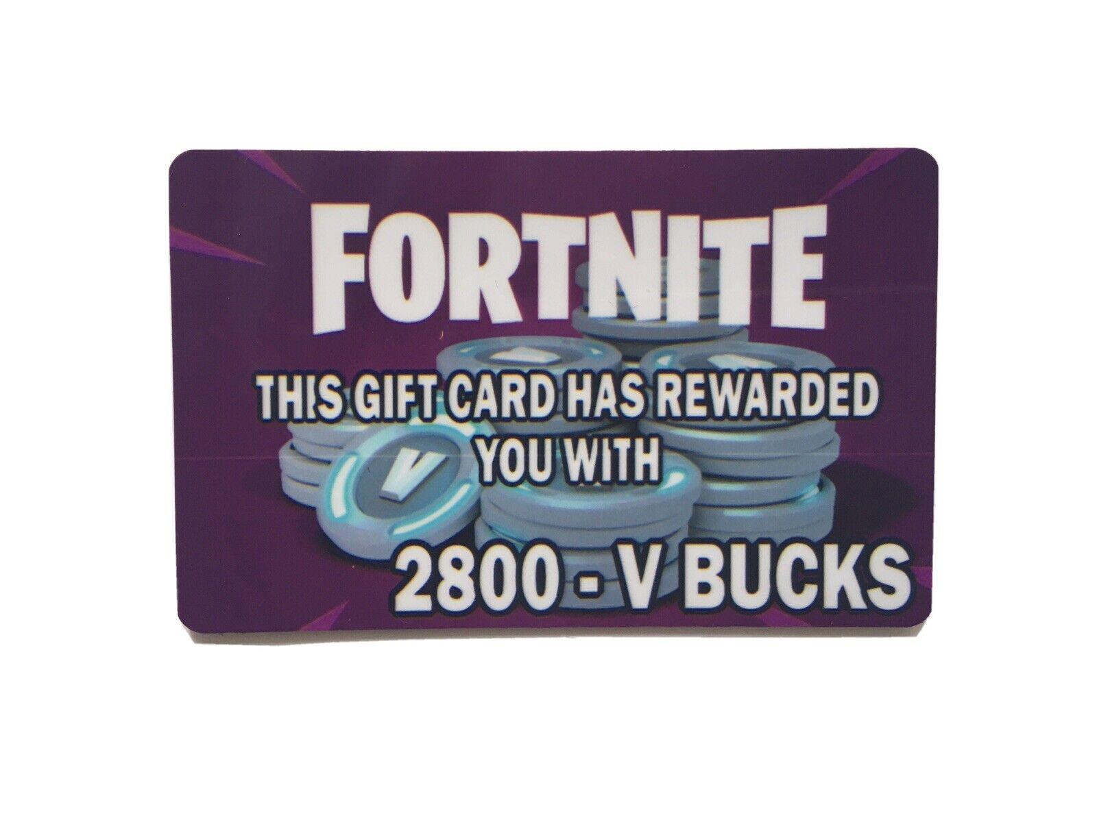 """""""Novelty"""" ** No Money Value ** Fortnite 2800 V Bucks Gift Card - See Desc"""