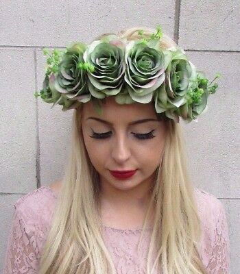 Large Green Rose Flower Garland Headband Hair Crown Floral Festival Boho 3962