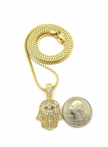 """MEN HIP HOP ICED OUT HAMSA HAND PEDANT w//2mm 24/"""" BOX CHAIN NECKLACE SET SN229"""