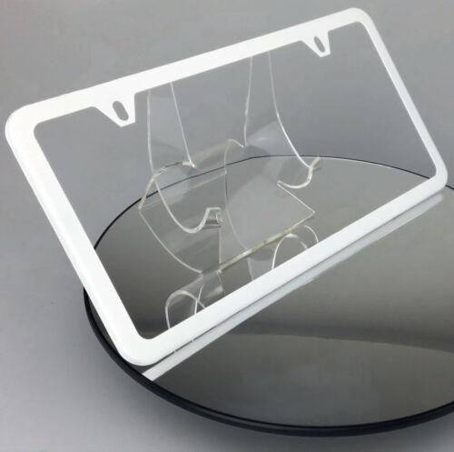 Powder Coated Flat White Slim 2 Hole Stainless Steel License Plate Frame Holder