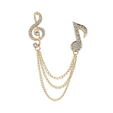 Crystal MUSIC SYMBOL Brooch Collar Lapel Pins Tip Gift Unisex-Gold