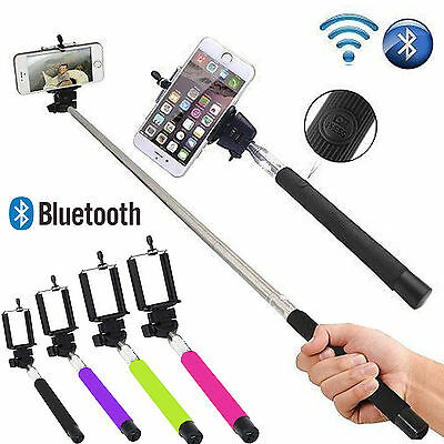 Monopod Selfie Stick Telescopic Built-in Bluetooth Wireless Remote Phone Holder