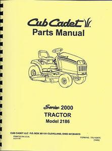 cub cadet 2186 tractor parts manual ebay rh ebay com Cub Cadet Lawn Tractors Bagger Cub Cadet Deck Belt Install