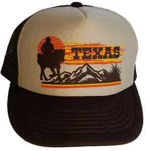 Texas-Sunset-Cowboy-Snapback-Mesh-Trucker-Hat-Cap-BT-Western-Cowboy