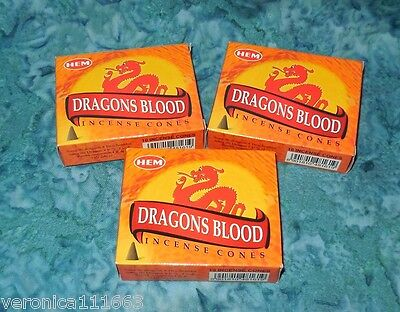 30 Dragons Blood Incense Cones New Hand Rolled HEM Brand Enhance Sexual Potency