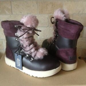48f79f6e7be Details about UGG VIKI PORT WATERPROOF LEATHER SHEEPSKIN SHORT BOOTS SHOES  SIZE 7 WOMENS