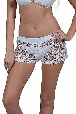 Ladies Sexy  Crochet Mesh Shorts Pull On Coverup Beach Cover Up  Bottom Beach