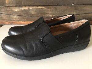 Vionic-Magnolia-Gianna-Leather-Slip-On-Flat-Black-Sz-8-5